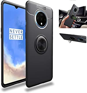 OnePlus 7T Case,360° Rotating Ring Kickstand Protective Case,Silicone Soft TPU Shockproof Protection Thin Cover Compatible with [Magnetic Car Mount] for OnePlus 7T Case Black/black 1