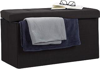 Relaxdays Pouf de rangement pliant coffre repose-pieds Hxlxp: 38 x 76 x 38 cm, noir