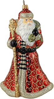 Miss Christmas 2019 Collection Festive Santa 7.5-Inch Blown Glass Christmas Tree Ornament