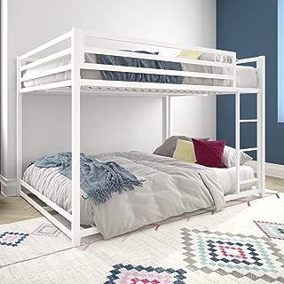 DHP Miles Metal Full, Furniture for Kids, White Bunk Bed,