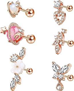 ORAZIO Cartilage Earrings for Women 16G 316L Stainless Steel Helix Tragus Cartilage Stud Ear Piercing Jewelry
