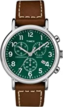 Timex Men's TW2T29100 Weekender Chrono Brown/Green Two-Piece Leather Strap Watch