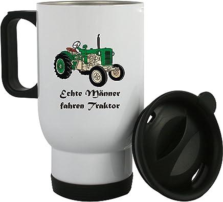 """Preisvergleich für Thermobecher aus Edelstahl mit Motiv """" Echte Männer fahren Traktor"""" auch mit Kundenwunsch bedrucken, Kaffeebecher, Edelstahlbecher"""