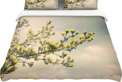 88 x 88 Kess InHouse Pom Graphic Design Shine with The Stars Black Yellow Cotton Queen Duvet Cover