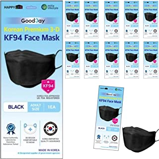 (Pack of 10) Good Day Korea Black Disposable KF94 Face Masks 4-Layer Filters Breathable Comfortable Protection, Protective...