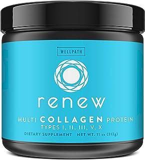 Renew Multi Collagen Protein Powder - 5 Types of Collagen - Hydrolyzed Grass-Fed Bovine, Marine, Chicken and Egg Collagen ...