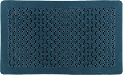 CHICHIC Door Mat Welcome Mat 18 x 30 Inch Front Door Mat Outdoor for Home Entrance Outdoor Mat for Outside Entry Way Doormat Entry Rugs, Heavy Duty Non Slip Rubber Back Low Profile, Dark Blue A