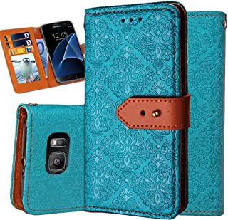 Galaxy S7 Flip Wallet Case,Auker Classic Vintage Folio Leather Full Body Protection Anti-Scratch Purse Case Cover with Cash Card Holder Pocket&Fold Stand for Women/Men for Samsung Galaxy S7 (Blue)