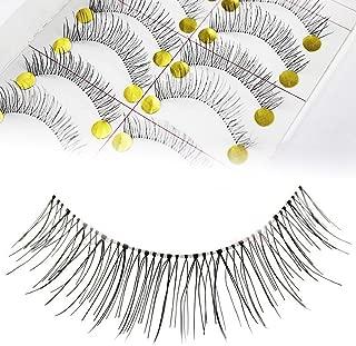 Adecco LLC 50 Pairs Natural Look Taiwan Handmade Fake False Eyelashes Eye Lashes Transparent Stem Classical Eyelashes (50 Pairs)
