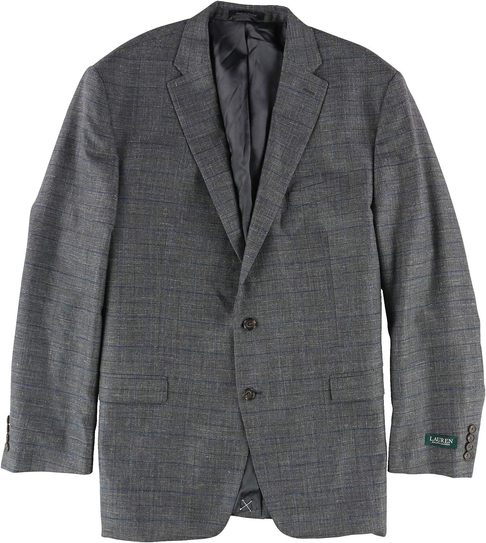 Ralph Lauren Mens Ultra-Flex Two Button Blazer Jacket, Grey, 50 Long