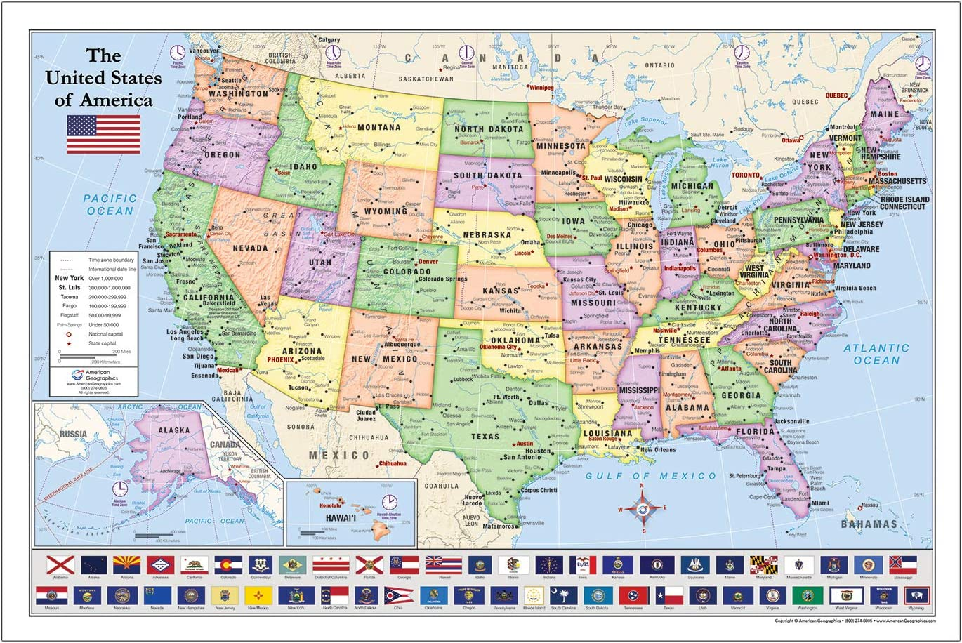 United States USA Map with State excellence 1 year warranty Flags Lam 36