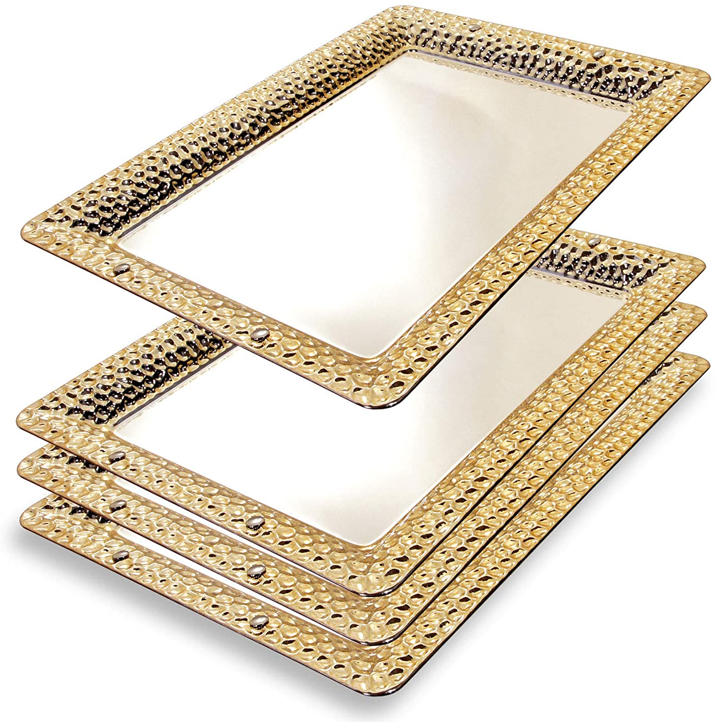 Maro Megastore (Pack of 8) 13.8-Inch x 9.8-Inch Rectangular Chrome Plated Serving Tray Gold Edge Bullet Pattern Engraved Decorative Wedding Birthday Buffet Party Dessert Food Snack Wine 280 M Ts-176