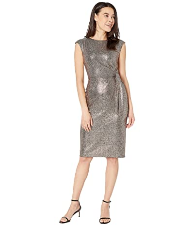 Tahari by ASL Petite Hammered Stretch Metallic Side Tie Dress (Bronze Black) Women
