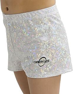 Obersee Girls Gymnastics Shorts, Silver Hologram, Large