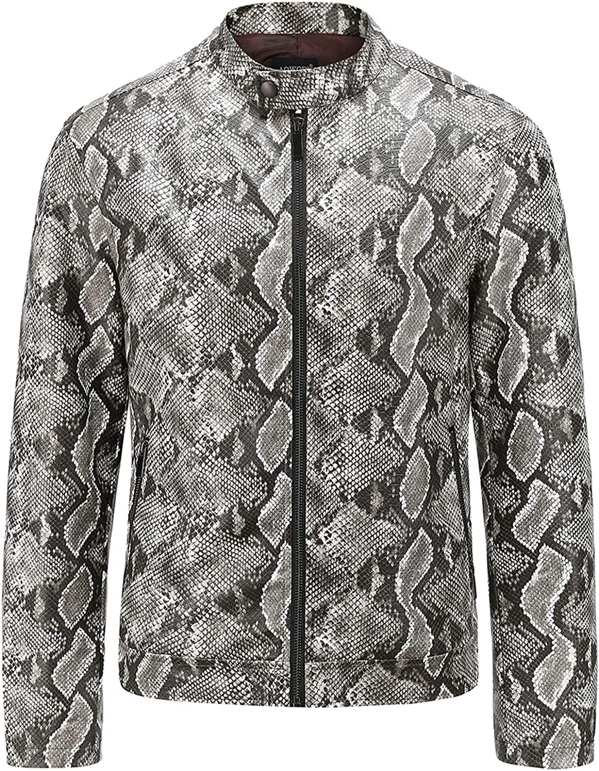 Men's Snakeskin Leather Jacket,Washed PU Leather Coat,For Outdoor Leisure Cycling Wear