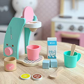 Brew & Serve Wooden Coffee Maker Set - Play Kitchen Accessories, Encourages Imaginative Play, 13 Pieces, Upgraded Toy Coffee Set for Kids-Fun and Colorful for Girls and Boys