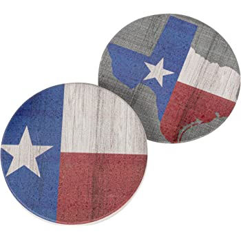 Texas Red White and Blue Patriotic 2.75 x 2.75 Absorbent Ceramic Car Coasters Pack of 2