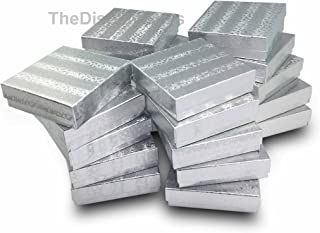 The Display Guys Pack of 25 Cotton Filled Cardboard Paper Silver Jewelry Box Gift Case - Silver Foil (3 1/2x3 1/2x1 inches #33)