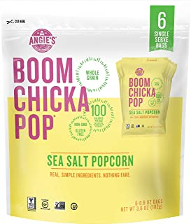 Angie's BOOMCHICKAPOP Gluten Free Sea Salt Popcorn, 1 Ounce Vegan Snack Pack Bag, 6-Count