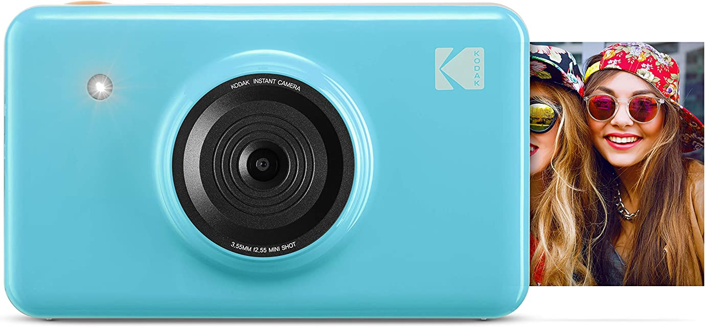 Kodak Mini Shot - Impresiones inalámbricas de 5 x 7.6 cm con 4 Pass tecnología de impresión patentada cámara digital de impresión instantánea 2 en 1 azul