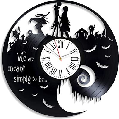 Kovides Love Clock Vintage Vinyl Record Clock Jack and Sally Skellington Wall Art Nightmare Before Christmas Xmas Gift for Kids Disney Wall Clock Handmade Decor for Nursery NBC Cartoon New Year Gifts