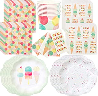Talking Tables We Heart Ice Cream Party Bundle For Birthdays, Summer Parties or Children Celebrations | Paper Plates, Napkins, Ice Cream Treat Tubs