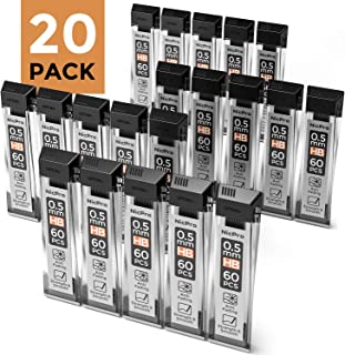 Nicpro 1200 PCS Lead Refills 0.5 mm HB Break Resistant Mechanical Pencil Refills,60 Pack Per Tube, 20 Tubes