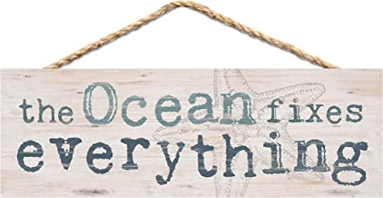 P. Graham Dunn Ocean Fixes Everything Nautical Blue 10 x 4 Pine Wood Hanging Décor String Sign