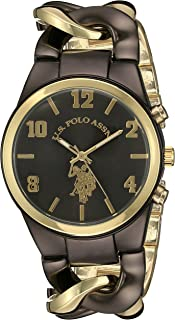 U.S. Polo Assn. Women's Quartz Watch, Analog Display and Gold Plated Strap USC40177