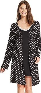 kathy ireland Womens Lace Trim Chemise Nightgown & Belted Wrap Robe Sleepwear Set