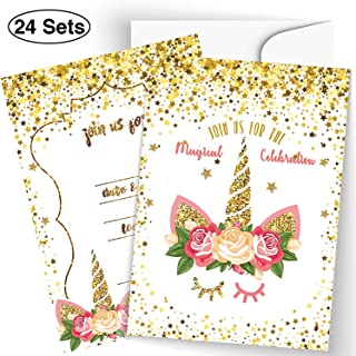 24 Pack Glitter Horn Unicorn Invitation Cards Kits Parties Invitation Supplies, Baby Shower, Birthday, and Special Events Invite Cards With Envelopes and Unicorn Stickers