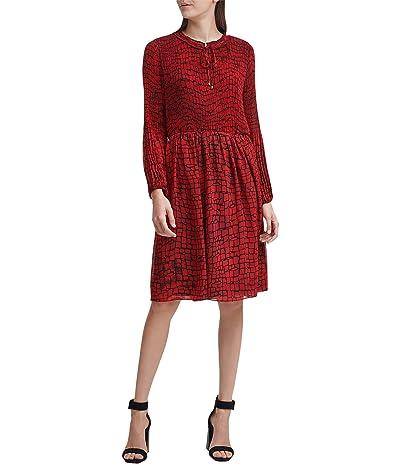 Calvin Klein Long Sleeve Dess with Ruffle Neck Detail