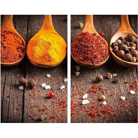 Allstar Plaque de protection en verre Curry - Set de 2, couvre-plaque de cuisson pour plaques de cuisson vitrocéramiques ou induction, Verre trempé, 30 x 0.8 x 52 cm, Multicolore
