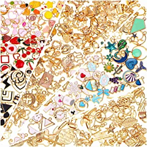 200Pcs Charms for Jewelry Making, Gikasa Assorted Jewelry Bangle Charms, Wholesale Mixed Bulk Metal Earring Charms for DIY Necklace Bracelet Jewelry Making and Crafting