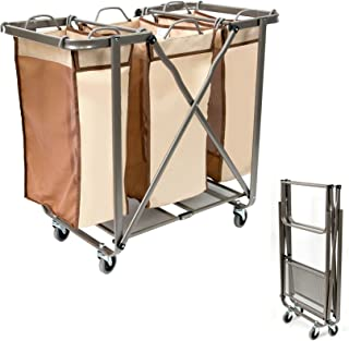 SEINA Three Bin Collapsible/Foldable Laundry Cart Hamper | Removable Odor Resistant Bags, No Assembly Required, Folds Flat for Easy-Storage, Smooth Gliding Wheels, Mobile, Rolling Sorter | Tan/Brown