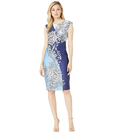 Vince Camuto Scuba Dress with Floral Print (Blue Multi) Women