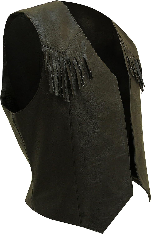 Mens Real Black Cow Leather Bikers Tassels Waistcoat Vest Cowboy Festival