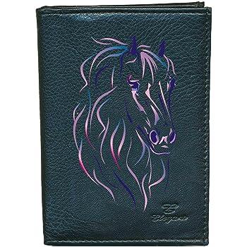 Petit Porte monnaie en cuir porte cles noir Cheval bleu rose