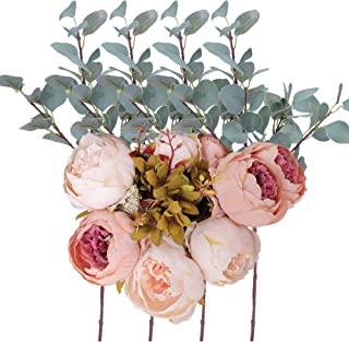 Greentime 4pcs Artificial Straight Silver Dollar Eucalyptus Leaf Greenery Branches with Fake Vintage Peony Silk Flowers Bouquet for Home Party Wedding Decoration
