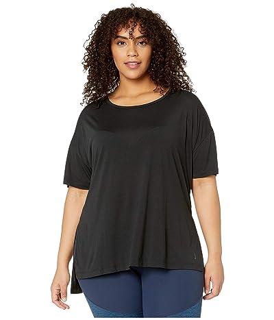 Nike Plus Size Yoga Layer Short Sleeve Top (Black/Dark Smoke Grey) Women
