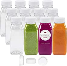 8 Oz Empty Juice Bottles 12 Pack Clear Plastic Disposable Tamper Proof Lids