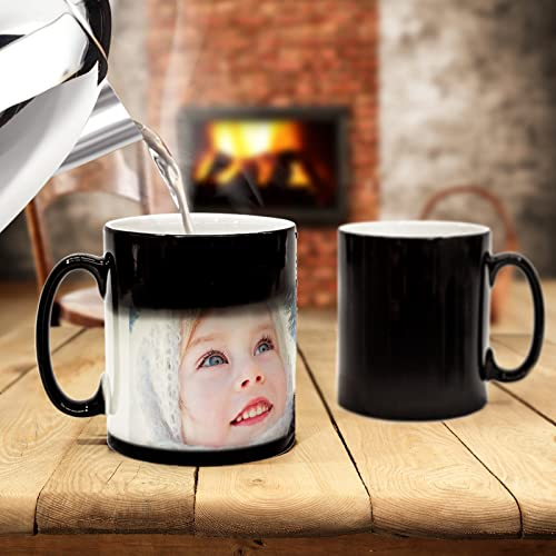 Magic Mug - Personalised heat Changing Coffee & Tea Mug with YOUR PHOTO! (11oz / 325ml, Black/Changing) (11oz, Black/Changing)