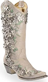 Women's White Floral Overlay Embroidered Stud and Crystals Cowgirl Boot
