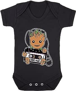 GROOT's Music Retro Tape Cassette Print Baby Bodysuits Short Sleeve 100% Cotton