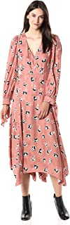Rebecca Taylor Women's Long Sleeve Floral Midi Hem Silk Dress