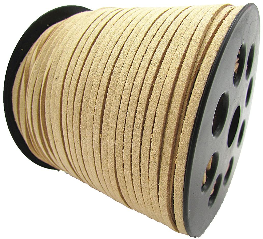 100 Yards Jewelry Making Flat Micro Fiber Lace Faux Suede Leather Cord (12 Colors) (Beige)