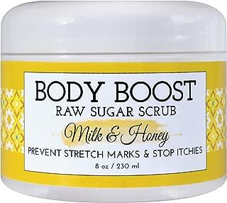 Body Boost Milk & Honey Sugar Scrub 8 oz- Treat Dry Skin Stretch Marks and Scars- Pregnancy and Nursing Safe- Allergen Free