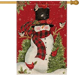 AVOIN Snowman with Buffalo Plaid Scarf House Flag Vertical Double Sized, Winter Holiday Christmas Burlap Yard Outdoor Decoration 28 x 40 Inch