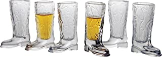Circleware 51474 Kickback Whiskey Shot Glasses Funny Cowboy Boots, Set of 6 Heavy Base Entertainment Beverage Drinking Glassware for Liquor and Bar Barrel Dining Decor, 1.5 oz, Clear