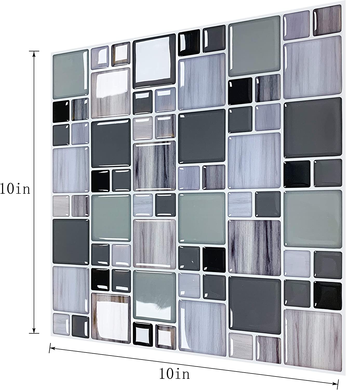 Blue 5 Sheets Self Adhesive Removeable Stick Decorative Marble Design Heat and Water Proof 3D Wall Tiles Sticker for Kitchen Backsplash Bathroom SHINEONE 10/×10 Peel and Stick Wallpaper